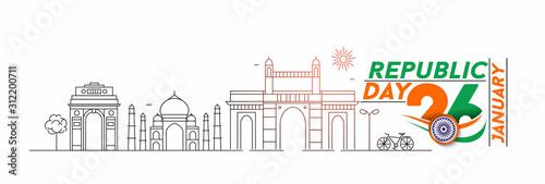 Leinwand Poster  26 january Republic day concept - India Gate Taj Mahal & Gateway Of India Mumbai,  Line art vector illustration