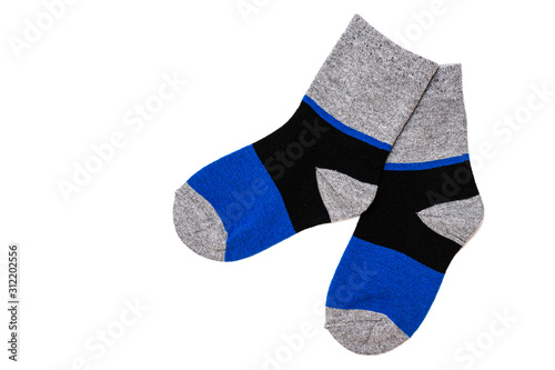 A pair of toddler boy's socks, isolated on a white background/ Flat lay/ Top vie Canvas Print