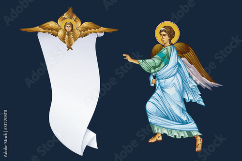 Two archangels and holy spirit Canvas Print