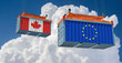 Freight container with Canada and European Union flag. 3D Rendering