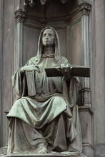 Neo-gothic Statue Of Woman Holding Book