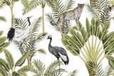 Tropikalny rocznika botaniczny zielony palmy, drzewa bananowego, Żuraw i Lampart kwiatowy wzór bezszwowe białe tło. Tapeta egzotycznej dżungli. - 312204919