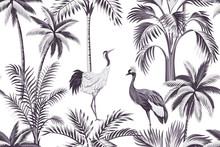 Tropical Vintage Botanical Purple Palm Tree, Crane Floral Seamless Pattern White Background. Exotic Jungle Wallpaper.