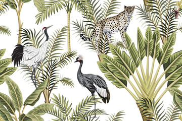 FototapetaTropical vintage botanical green palm tree, banana tree, crane and leopard floral seamless pattern white background. Exotic jungle wallpaper.