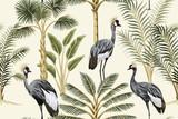 Tropikalny vintage botaniczny krajobraz, palmy, drzewa bananowe, roślin, żuraw ptak kwiatowy wzór bezszwowe żółte tło. Tapeta egzotyczna zielona dżungla zwierząt. - 312205120