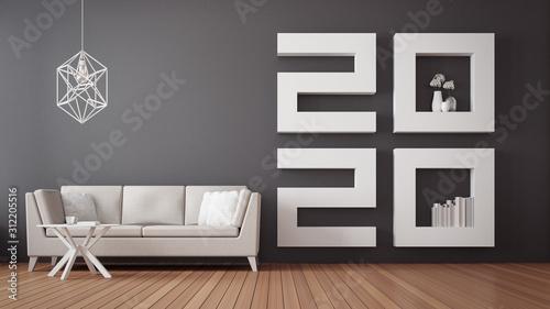 Obraz 2020 Happy new year Living room interior / 3D rendering interior - fototapety do salonu