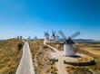 Aerial view of Don Quixote windmills. Molino Rucio Consuegra in the center of Spain