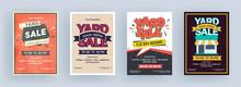 Vintage Yard Sale Flyer Or Template Design Set With Event Details.