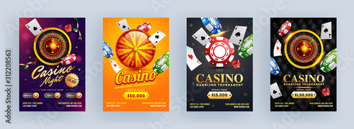 Fotomural  Casino Gambling Tournament and Casino Night Template or Flyer Design in Different Abstract Background