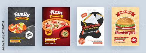 Fototapeta Pizza, Sandwich, Hamburger and Family Restaurant Brochure, Template or Flyer Design for Advertising Concept. obraz