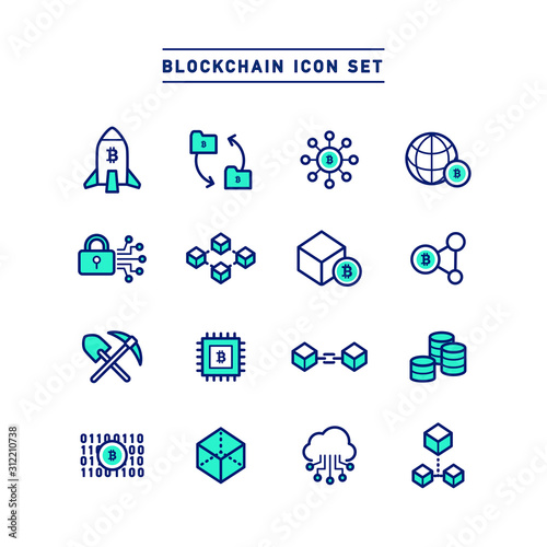 Fotografía BLOCKCHAIN ICON SET