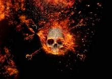 炎に包まれた抽象的な頭蓋骨