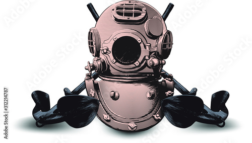 copper classic heavy diving helmet and two crossed old admiralty anchors Wallpaper Mural