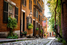 Acorn Street Around Beacon Hill , One Of The Beautiful Street In Boston  , Massachusetts