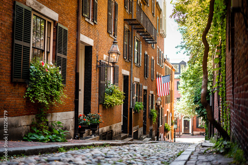 Fotografía Acorn street around Beacon hill , one of the beautiful street in Boston  , Massa