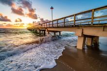 Sunrise Over Pier In Miami Bea...