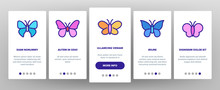 Butterfly Onboarding Mobile App Page Screen Vector. Beautiful Decorative And Exotic Butterfly, Monarch And Moth Illustrations