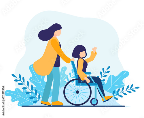 Obraz Volunteer helping disabled woman. Sister walking in park with girl disabled in wheelchair. Help disabled people, young social worker care about invalid. International Volunteer Day Vector illustration - fototapety do salonu
