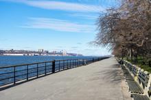 Empty Walkway Along The Hudson...