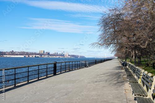 Fotografie, Tablou Empty Walkway along the Hudson River at Riverside Park on the Upper West Side of