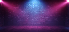 Neon Retro Brick Walls Club Mist Dark Foggy Empty Hallway Corridor Room Garage Studio Dance Glowing Blue Purple Spot Lights Concrete Floor 3D Rendering