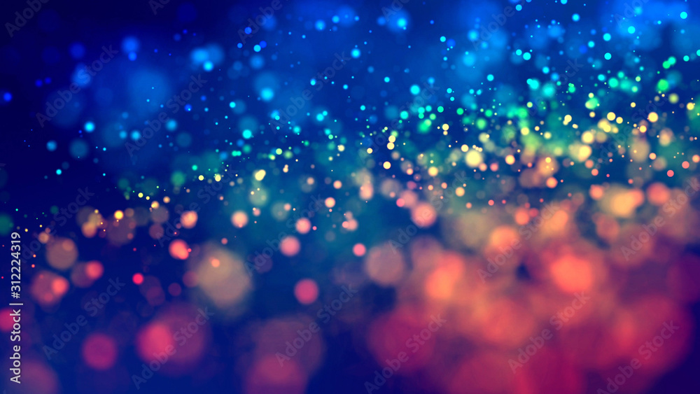 Fototapeta cloud of multicolored particles fly in air slowly or float in liquid like sparkles on dark blue background. Beautiful bokeh light effects with glowing particles. 32