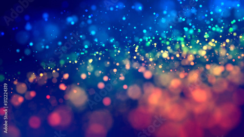 cloud of multicolored particles fly in air slowly or float in liquid like sparkles on dark blue background. Beautiful bokeh light effects with glowing particles. 32 - 312224319