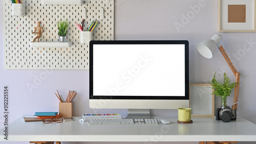 Working desk, Modern work space mockup laptop computer with empty screen and office supplies.