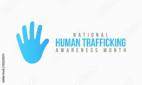 Fotomural  Vector illustration on the theme of National Human trafficking Awareness Month o