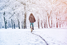 Woman Rides A Bicycle In A Sno...