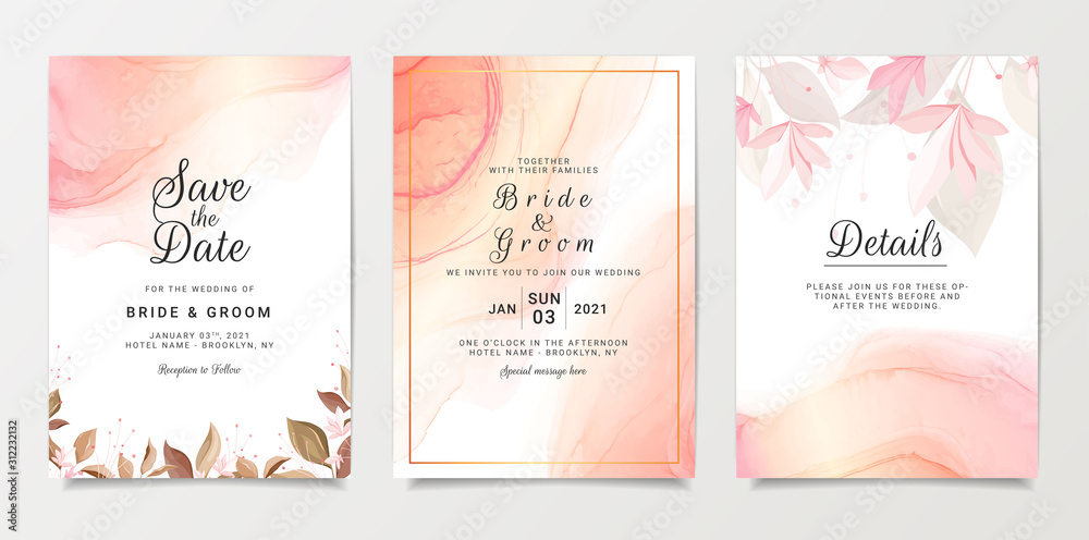 Fototapeta Wedding invitation card template set with floral decoration and gold fluid background. Wild flowers botanic illustration for save the date, greeting, poster, cover vector