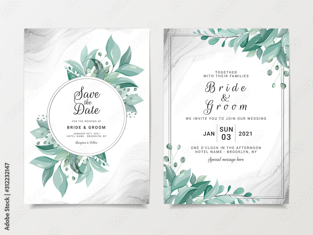 Fototapeta Elegant wedding invitation card template set with floral frame and silver fluid background. Wild leaves botanic illustration for save the date, greeting, poster, cover vector