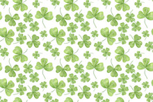 Repeat Pattern Of Hand Drawn Watercolor Green Shamrock Leaves