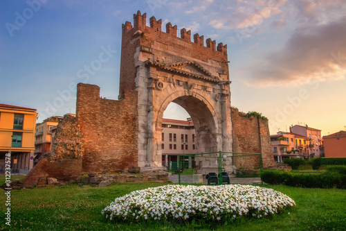 Rimini, Italy. Arch of Augustus, ancient roman gate of city Canvas Print