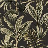 Tropikalne palmy rocznika, bananowe drzewo kwiatowy wzór ciemne tło. Tapeta egzotycznych dżungli botanicznych. - 312240553
