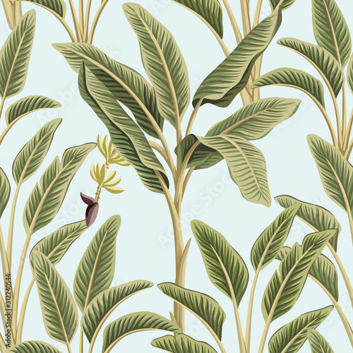 Tropical vintage green banana trees floral seamless pattern blue background. Exotic botanical jungle wallpaper. Wall mural
