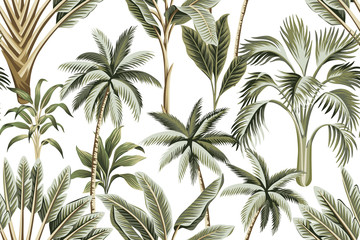 FototapetaTropical vintage Hawaiian palm trees, banana and palm leaves floral seamless pattern white background. Exotic jungle wallpaper.
