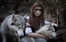 Art Photo: Forest Hunter With Two Wolves
