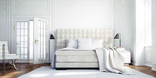 Obraz Classic Loft with Bed Classic white Bedroom - 3D illustration - fototapety do salonu