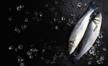 Seabass Fish On Ice On Black S...