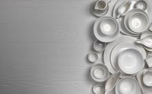 Set Of Empty Dishware On White...