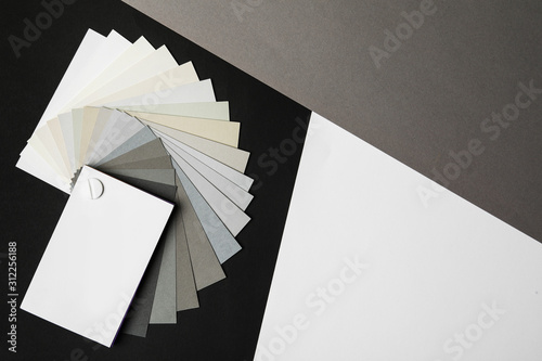 Fototapeta Color palette on bright background, top view. Space for text obraz