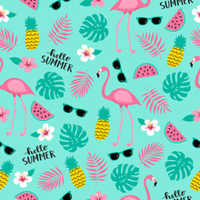 Summer Seamless Cute Colorful Pattern With Flamingo, Pineapple, Tropical Leaves, Watermelon, Flowers, Sunglasses. Tropical Background. Vector Illustration