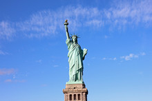 Statue Of Liberty Front View Blue Sky