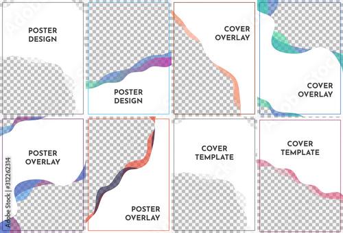 Streszczenie szablonów stron A4. Falisty nowoczesny styl z gradientowymi kolorami. Ilustracji wektorowych. Fajne jasne tapety. Element do projektowania wizytówek, zaproszeń, kart podarunkowych, ulotek i broszur