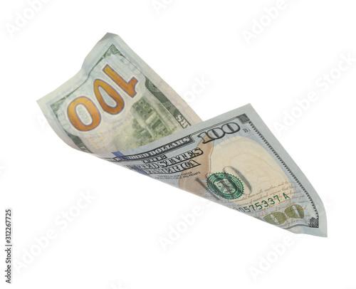 Fototapeta Dollar banknote isolated on white. Flying money obraz