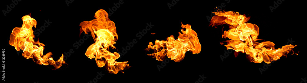 Fototapeta Red flame isolated on a black background
