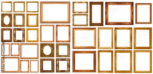 Photo Gold picture frame isolated
