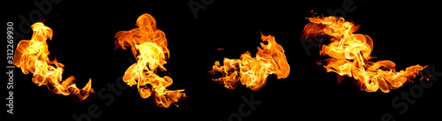 Fotografia Red flame isolated on a black background