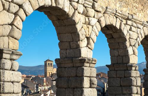 Fotografie, Obraz Arches of the Roman aqueduct in Segovia, Castile and León, Spain
